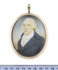 john dawson downes esq, wearing blue coat, white waistcoat, chemise, stock and cravat, powdered wig by edward miles