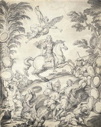 frontispice avec louis xiv à cheval au dessus duquel vole une allégorie de la renommée, des soldats combattant au premier plan by antoine dieu