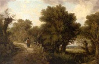figure by a pond in a wooded landscape by james (sillet) sillett