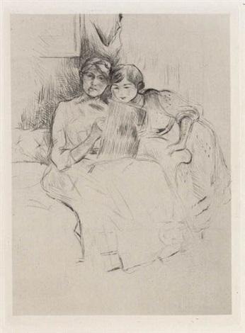 berthe morisot dessinant avec sa fille by berthe morisot