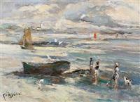 figures on a beach by michael d' aguilar