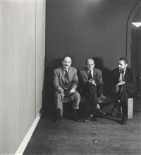barnett newman, jackson pollock and tony smith at the betty parsons gallery, new york by hans namuth