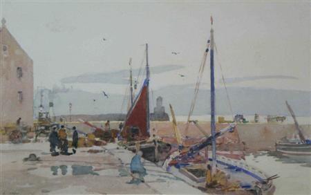 docked fishing boats by robert eadie