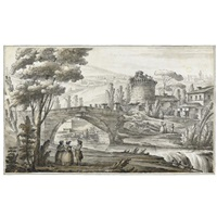 landscape with buildings and figures near a bridge by giacomo quarenghi