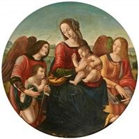 la vierge à l'enfant et saint jean-baptiste enfant entourés d'anges by raffaelino del garbo