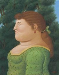 woman in profile by fernando botero