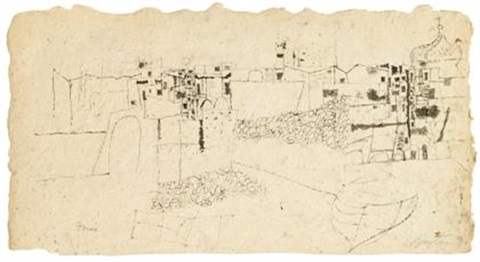 untitled forio cityscape by philip guston