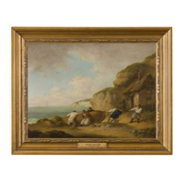 beaching a boat by george morland