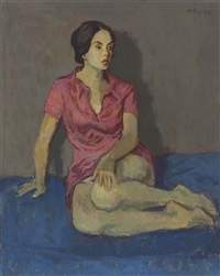 girl in pink slip by moses soyer