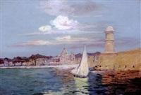 le port de marseille, la tour saint jean by francois maurice reynaud