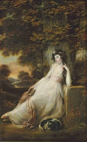 portrait of miss sd chambers in a white dress seated with a dog in a river landscape by john russell