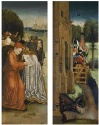 two wings of an altarpiece: a crowd of onlookers before a fantastical city; an army taking leave of a castle (pair) by hieronymus bosch