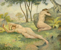 nudes in landscape by paul-emile colin