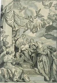die vermählung der heiligen katharina mit dem jesusknaben, (after veronese_ by john baptist jackson