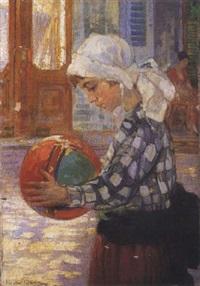 niña jugando a la pelota by héctor nava