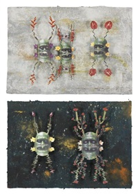 green reflecting head trio no. 1 (+ green reflecting head duo no. 1; 2 works) by ashley bickerton