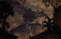 a landscape with deer, ducks and a goat by anak agung gede sobrat