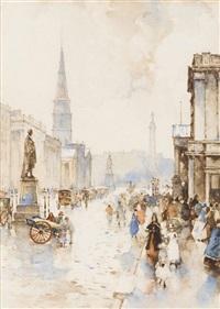 pedestrians in george street, edinburgh by james watterston herald