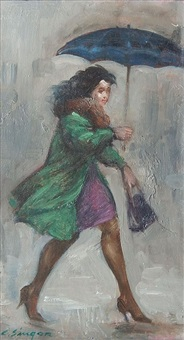 girl in green with umbrella by clyde singer