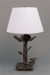 special pair of table lamps with four leaves by diego giacometti