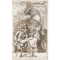 scena d'interno con una dama che si rivolge a due uomini by luigi agricola