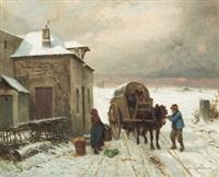 vinterlandskap med figurer och vagn by louis simon cabaillot lassalle