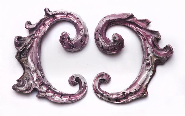 fregi (pair) by lucio fontana
