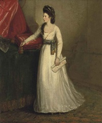 portrait of a lady (mrs. elizabeth sheridan (1754-1792)?) in a white dress, her right arm resting on a cushion holding a brush, in an interior by johann joseph zoffany
