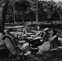 picnic at mougins, nusch and paul eluard, roland penrose, man ray and ady fidelin, 1937 by lee miller