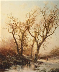 a winter landscape with figures on the ice by pieter lodewijk francisco kluyver