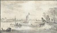 paysage fluvial avec des pêcheurs by jan josefsz van goyen