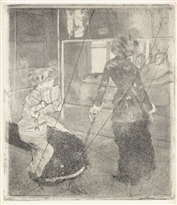 mary cassatt au louvre, musée des antiques by edgar degas