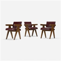 set of three armchairs from chandigarh by pierre jeanneret