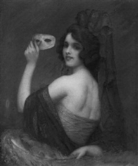 a young woman wearing a spanish costume and holding a mask by carl nys
