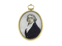 a gentleman called, alexander pope, wearing blue coat, white waistcoat, chemise, stock and tied cravat, his hair powdered by george chinnery