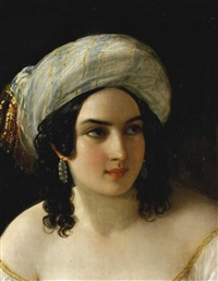 junge frau mit turban (odalisque) by natale schiavoni