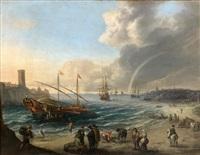 côte méditerranéenne avec des galères by cornelis de wael