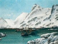 hafen im winter - von den lofoten by sigvald simensen