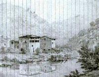 häuser am fluss in einer norditalienischen landschaft by henri lévêque
