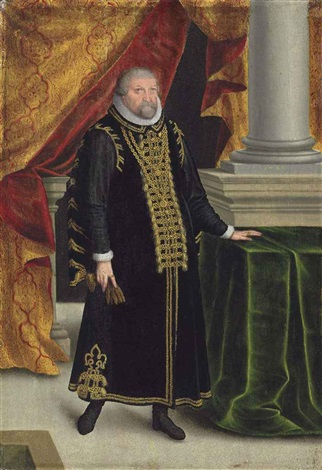 portrait of johan georges elector of brandenburg 1525 1598 small full length in black robes with gold embroidery and a ruff by zacharias wehm