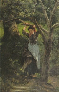 jeune paysanne au repos by alexandre antigna