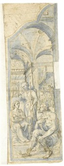 design for an altar wing, with the holy family and st. john the baptist on one side, and the liberation of st. peter on the other by frans floris the elder