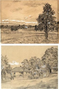 paesaggi (pair) by charles de ziegler