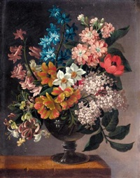 a still life of bluebells, poppies, and other flowers in a vase on a ledge by james (sillet) sillett