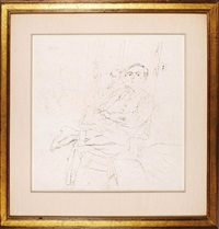 seated self-portrait with companion (with small self portrait en verso) by jules pascin