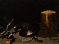 still life with armor and shield by gerrit dou
