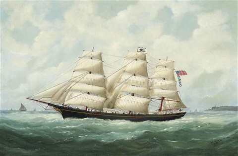 the american ship olive s southard of san francisco in french waters off le havre by marie edouard adam