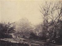 charrette dans une forêt by alphonse jeanrenaud