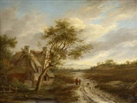 figures on a country path by a cottage by charlotte nasmyth