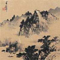 溪山幽居图 镜框 纸本 by huang junbi